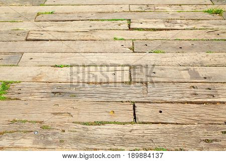 Old sleeper track Wooden on walk ways