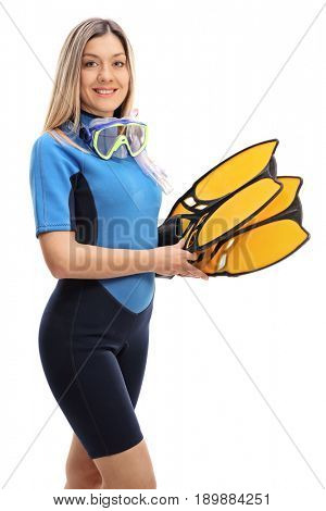 Young woman in a wetsuit with snorkeling equipment isolated on white background