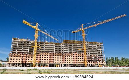 Construction Of Monolithic Houses With Tower Crane