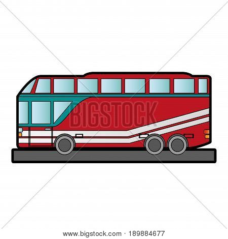 double decker bus sideview icon image vector illustration design