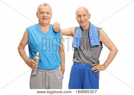Seniors in sportswear looking at the camera isolated on white background