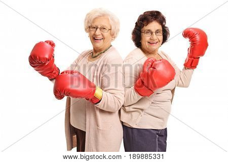 Two cheerful mature women with boxing gloves isolated on white background