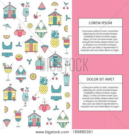 Vector vertical banner template suitable for summer beach products and services. Beach huts, bikinis, cocktails, fruits. For posters and cards, brochures, souvenirs, invitations, website designs.