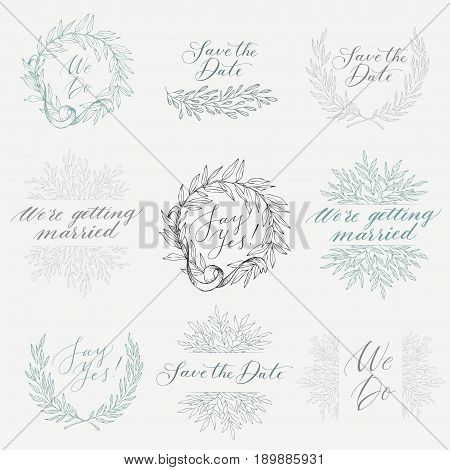 Linear sketch wedding elements for invitation template or logo, with leaf and ribbons. Vector set of hand-drawn. Wreath, phrases, calligraphy.