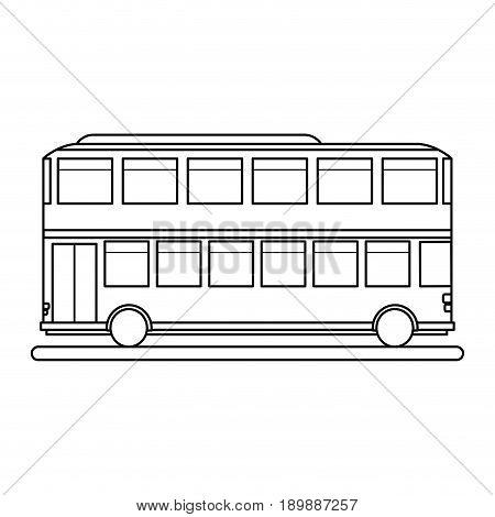 double decker bus sideview icon image vector illustration design black line