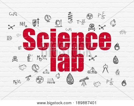 Science concept: Painted red text Science Lab on White Brick wall background with  Hand Drawn Science Icons