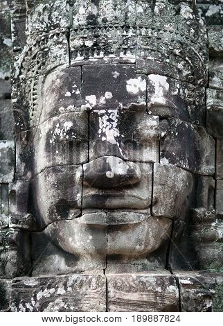 Ancient bas-relief of Prasat Bayon temple (late 12th - early 13th century) in Angkor Thom Cambodia