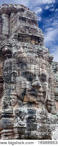 Panorama of ancient stone relief at the Prasat Bayon temple (late 12th - early 13th century) in Angkor Thom, Cambodia