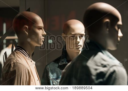 mannequin or dummy with human face imitating people fashion and shopping beauty no makeup business partnership and team work