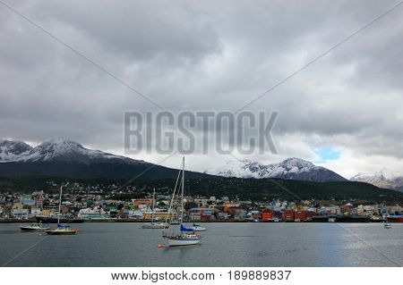 Harbor of Ushuaia, southermost city in the world and the capital of Tierra del Fuego, Argentina.
