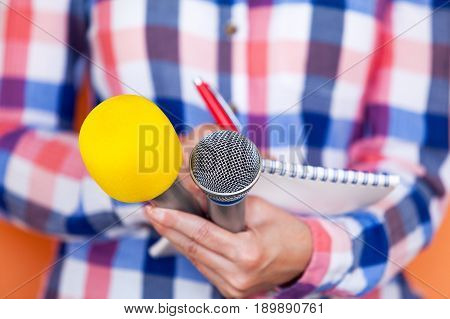 News. Reporter. Press conference. Media interview. Microphones. Journalism.