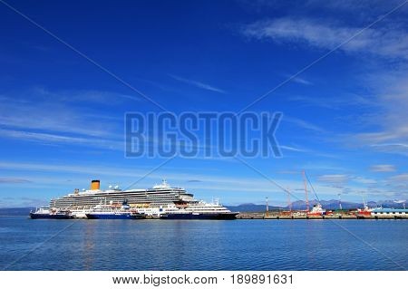 Cruise ship at harbor of Ushuaia, southermost city in the world and the capital of Tierra del Fuego, Argentina.