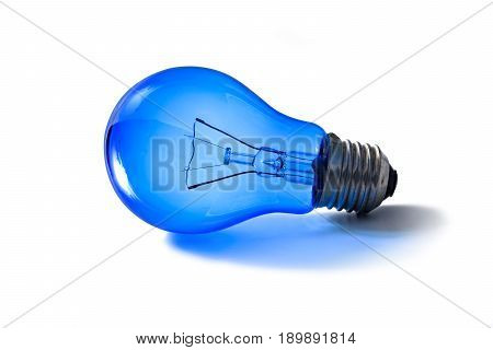 Bright blue light bulb brightness without plug isolated on white background
