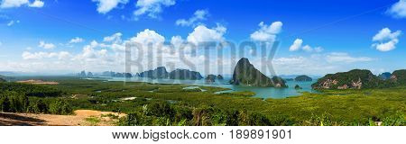 Samet Nang Shee panorama viewpoint unseen tourist attraction in Phang Nga Thailand
