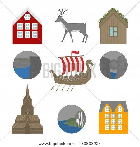 City sights icons. Norway landmark. Flat travel elements. Alesund, Bergen and Oslo. Pulpit Rock, Seven sisters waterfalls and stone Kjeragbolten. Viking ship Drakkar. Heddal Stave church