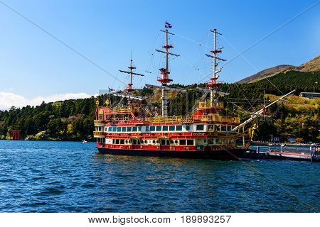 Pirate Ship At Dock, Hakone, Japan