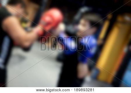 Blur Thai boxing training in the gym (Muang Thai)