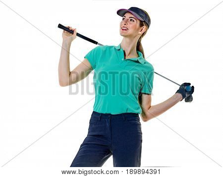 caucasian woman, golfer, golfing in studio, isolated on white background