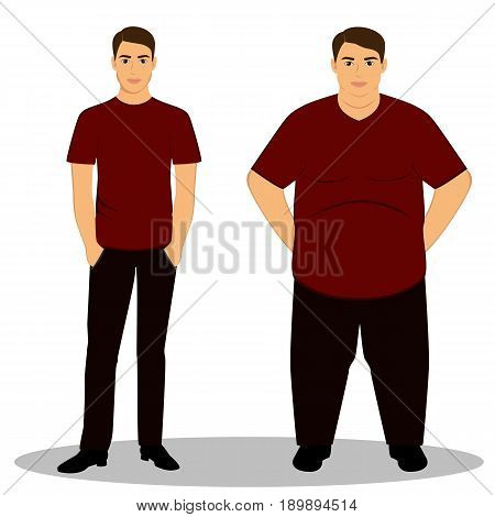 Thin and fat. Obesity. From thin to fat. Boy getting fat gaining weight. Isolated objects. Vector illustration.