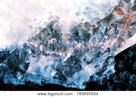 Abstract mountains with splash of ink digital watercolor painting