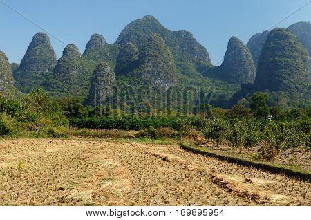 Mountains along Lijiang River (Li-river) near Yangshuo China - Guangxi Province -