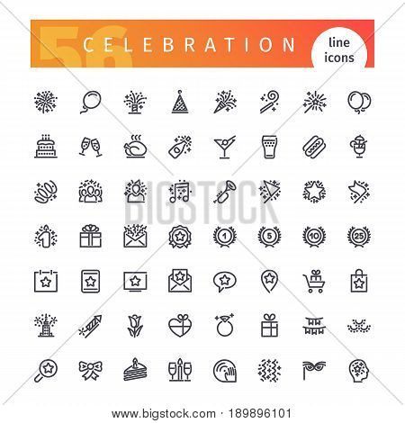 Set of 56 party and celebration line icons suitable for web, infographics and apps. Isolated on white background. Clipping paths included.