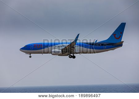 Arecife, Spain - April, 16 2017: Boeing 737-800 Of Tui With The Registration G-fdzb Landing At Lanza