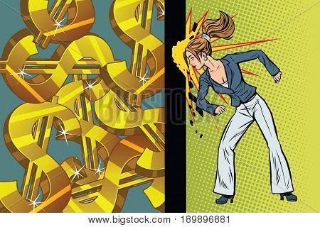 Businesswoman seeks to get rich, hit the wall head. Pop art retro vector illustration