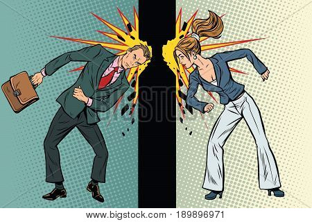 Competition of men and women in business. Pop art retro vector illustration