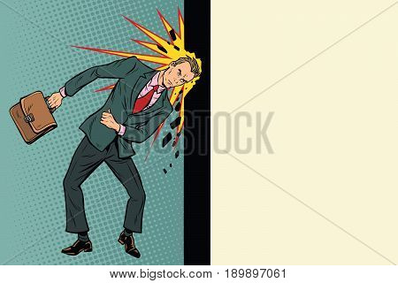 Businessman breaks the wall with his head. Stubbornness and determination in business. Pop art retro vector illustration