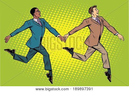 Businessmen elegantly moving, multi-ethnic group. Pop art retro vector illustration