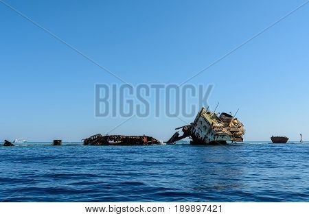 Sunken Ship On Coralreef Near Of Tiran Island In Egypt