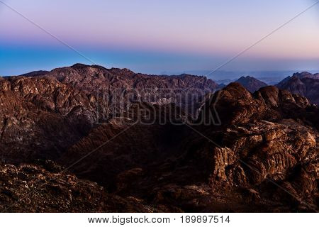 Egypt, Sinai, Mount Moses. View From Road On Which Pilgrims Climb The Mountain Of Moses And Dawn