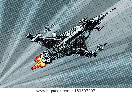 Futuristic outer space battle starship. Pop art retro vector illustration