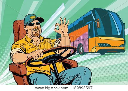 okay tourist bus driver. Transport and transportation. Pop art retro vector illustration