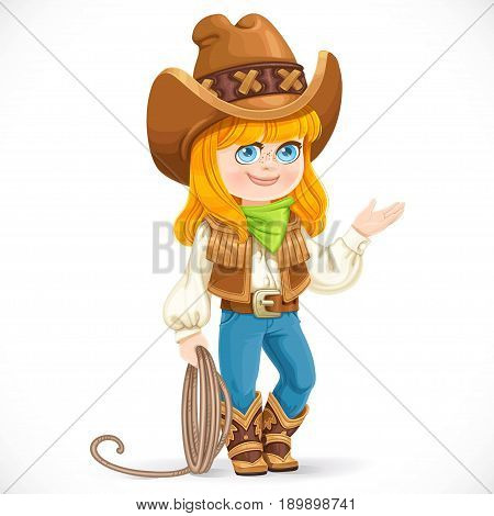 Cute girl in cowboy suit is holding a lasso isolated on white background