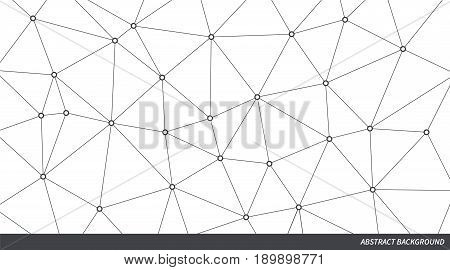 Abstract vector triangle background. Gray and white poly network pattern. Lines and circles connection infographic illustration for business presentation marketing project template concept design
