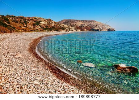 Beautiful Beach On Petra Tou Romiou (the Rock Of The Greek), Aphrodite's Legendary Birthplace In