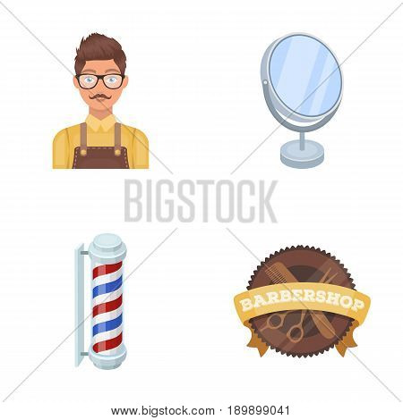 Male hairdresser, sign, mirror and other equipment for a hairdresser.Barbershop set collection icons in cartoon style vector symbol stock illustration .