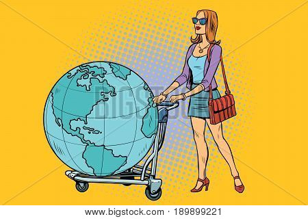 Woman tourist with a Luggage cart with the planet Earth. Pop art retro vector illustration