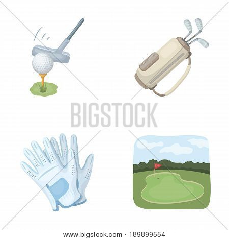 A ball with a golf club, a bag with sticks, gloves, a golf course.Golf club set collection icons in cartoon style vector symbol stock illustration .
