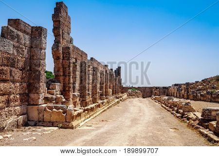 Ruins Of Ancient City Of Perge Near Antalya Turkey