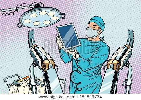 Obstetrician delivered a baby robot computer tablet. new technology and gadgets. Pop art retro vector illustration