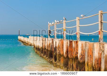 Panoramic View On Nice Jumeirah Beach In Dubai, Uae. United Arab Emirates Famous Tourist Destination
