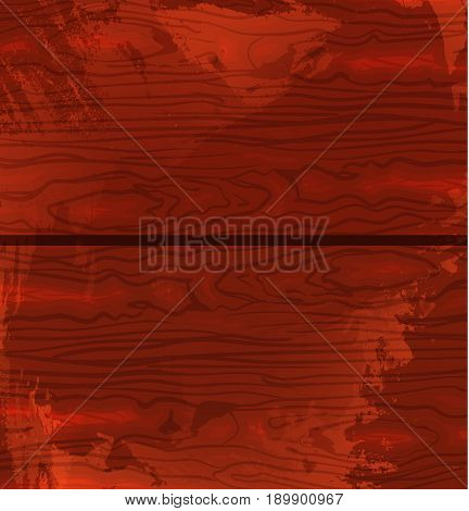 Wood texture template. Vector illustration. Red wood. Grunge textured backdrop