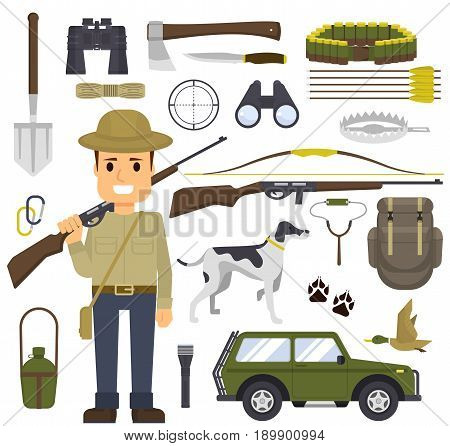 Hunting set of equipment. Hunter with a gun. Hunting for game, different accessories for hunting and camping. Vector illustration eps10