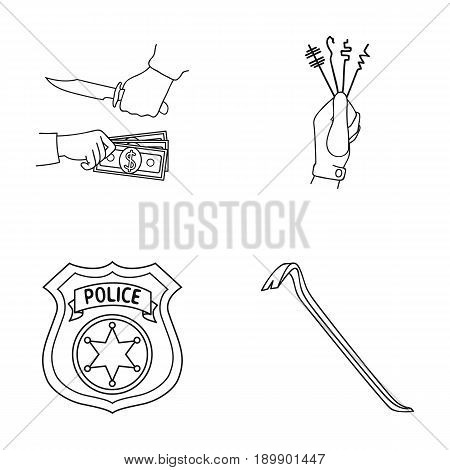 Robbery, picks, a police officer s badge, a crowbar. Crime set collection icons in outline style vector symbol stock illustration .