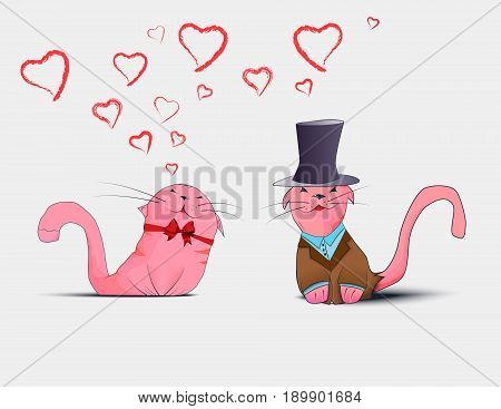 Postcard With Couple In Love Cats
