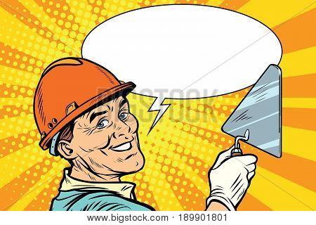 Builder repairman with the tool trowel. joyful professional smile. Pop art retro vector illustration