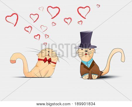 Couple In Love Cats.